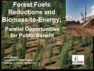 Forest Fuels Reductions and Biomass-to-Energy; Parallel ...