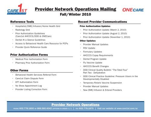 Care1st Onecare Personnel