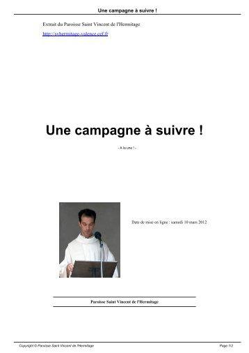 Une campagne à suivre ! - Paroisse Saint Vincent de l'Hermitage