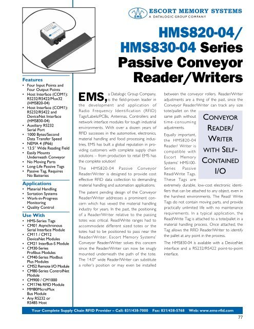 Escort Memory Systems Datalogic EMS HMS827-06 RFID Reader