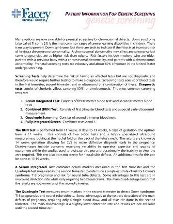 Genetic Screening Information Sheet - Facey Medical Group
