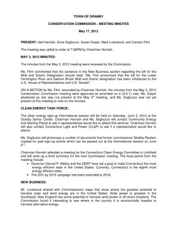 MEETING MINUTES May 17, 2012 PRESENT - Town of Granby