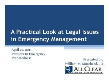 A Practical Look at Legal Issues in Emergency Management - WSU ...