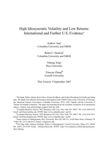 High Idiosyncratic Volatility and Low Returns ... - Rice University