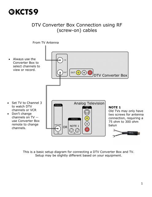 3 tv wiring diagram dtv converter box connection using rf kcts 9  dtv converter box connection using rf