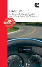Driver Tips. - Cummins Engines