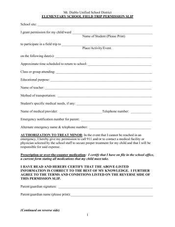 Parent Permission Slip for Away-Trip Participation Dear Parent or ...