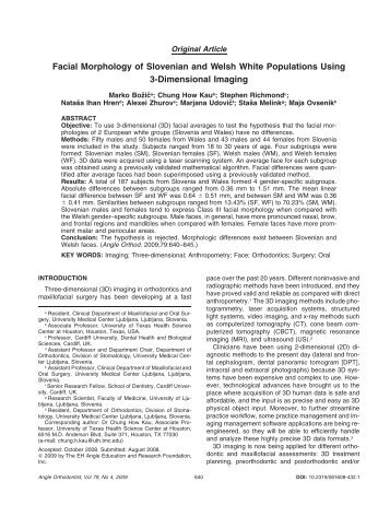 Facial Morphology of Slovenian and Welsh White Populations Using ...