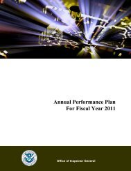 Annual Performance Plan for Fiscal Year 2011 - Office of Inspector ...