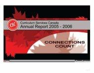 CSC Annual Report 2005-2006 - Curriculum Services Canada