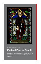 Pastoral Plan for Year III - Saint Mary Parish, Greenwich CT