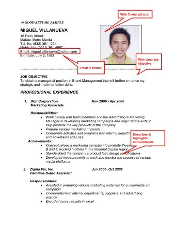 Good Resume Sample