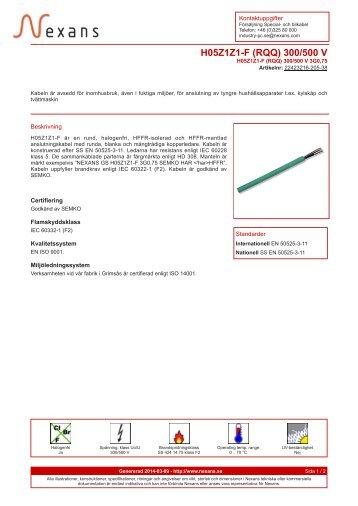 H05Z1Z1-F (RQQ) 300/500 V - Nexans