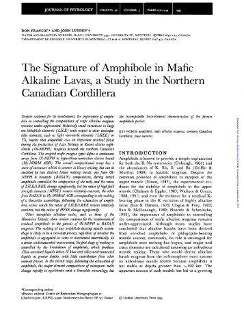 The Signature of Amphibole in Mafic Alkaline Lavas, a Study in the ...