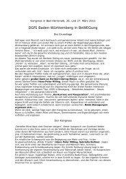 DGfS Baden-Württemberg in BeWEGung Die Grundlage