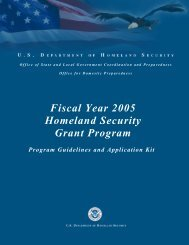 Fiscal Year 2005 Homeland Security Grant Program
