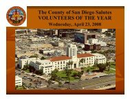 The County of San Diego Salutes VOLUNTEERS OF THE YEAR