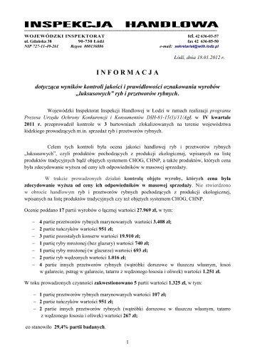 czytaj całość - Wojewódzki Inspektorat Inspekcji Handlowej w
