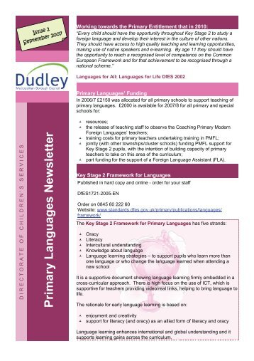 Primary Languages Newsletter - Dudley Virtual Resource Centre