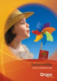 Sustainability report - Origin Energy