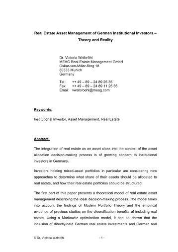 Real Estate Asset Management of German Institutional Investors ...