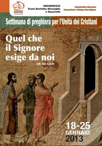 18-25 gennaio 2013 SETTIMANA DI PREGHIERA ... - Webdiocesi