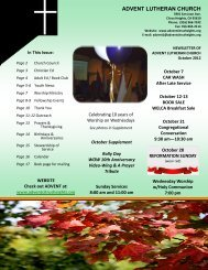 Oct 2012 Newsletter - Advent Lutheran Church