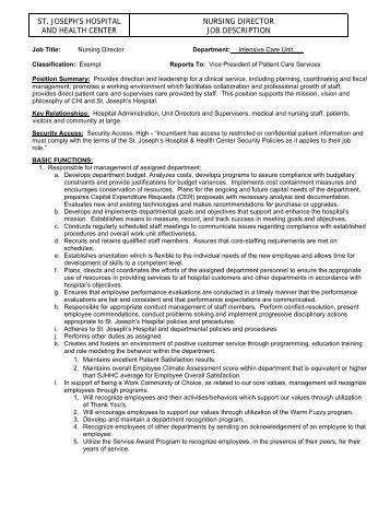 Wonderful Job Description 1) Job Identification Job Title: Staff Nurse Â
