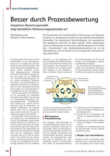 Besser durch Prozessbewertung - QZ-online.de