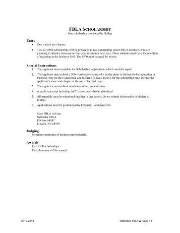 Section 7 - Scholarships - Nebraska FBLA