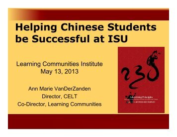 Supporting Your Chinese Students - Learning Communities