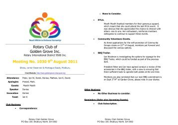 Bulletin 1030(1).pdf - Rotary Club of Golden Grove