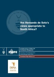 Are Hernando de Soto's views appropriate to South Africa?