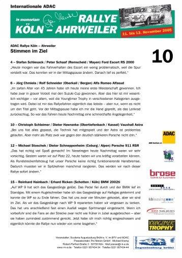Stimmen im Ziel 12.11.2005 (pdf) - Rallye Köln-Ahrweiler
