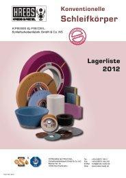 Lagerliste - Krebs & Riedel Schleifscheibenfabrik GmbH & Co. KG