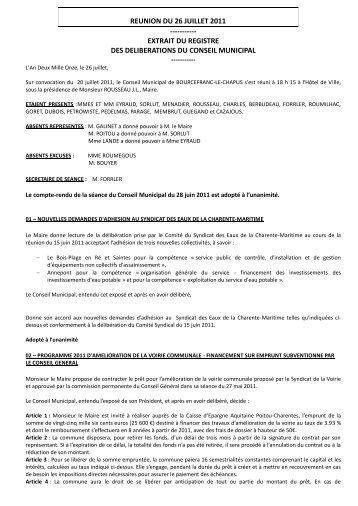CM du 26 juillet 2011 - Bourcefranc-Le Chapus