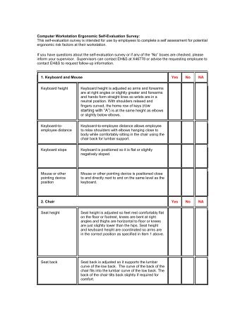 Computer workstation set up checklist for Workstation assessment template