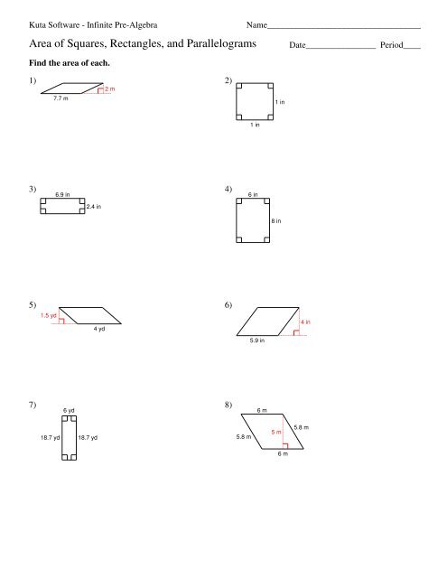 Area of Squares, Rectangles, and Parallelograms-1