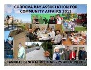 2013 AGM Presentation - Cordova Bay Association for Community ...