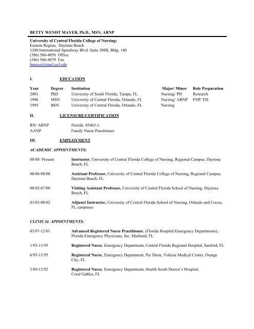 Ucf College Of Nursing >> Betty Wendt Mayer Ph Ucf College Of Nursing University