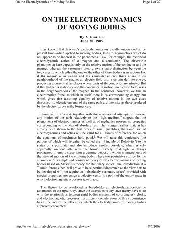 Einstein's 1905 paper on relativity