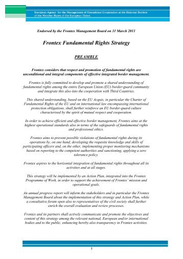 Frontex Fundamental Rights Strategy - Statewatch