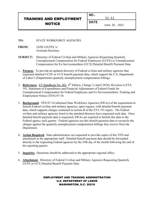 no. training and employment notice date - Unemployment Insurance