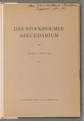 Das stockholmer Abecedarium