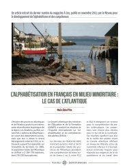 L'Alphabétisation en français en milieu minoritaire - Base de ...