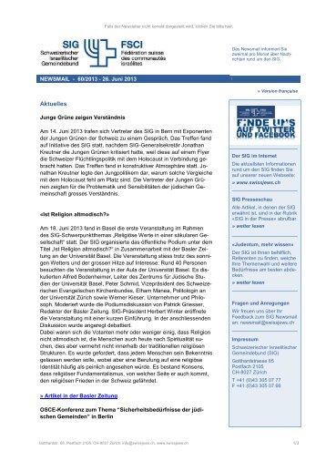 Aktuelles - Schweizerischer Israelitischer Gemeindebund