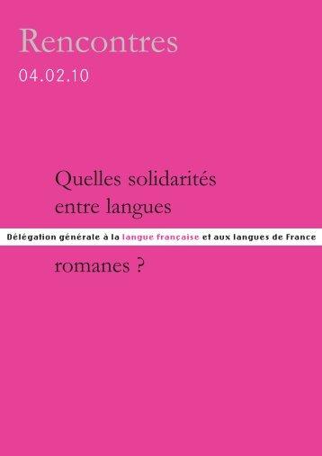 Solidarités romanes - Délégation générale à la langue française et ...
