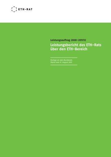 Leistungsbericht des ETH-Rats über den ETH-Bereich