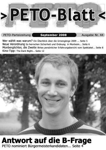 PETO-Blatt September 2008 herunterladen (pdf, 3,78 MB)