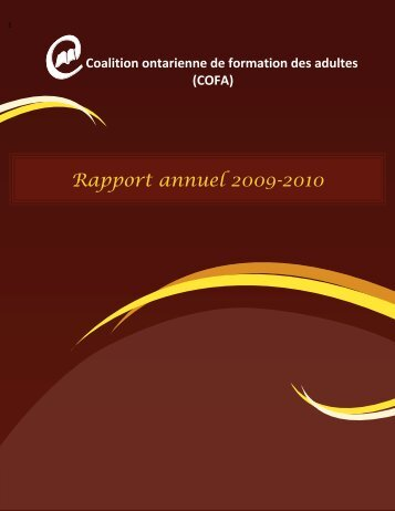 Rapport annuel 2009-2010 - Coalition ontarienne de formation des ...